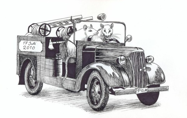 gammal brandbil teckning