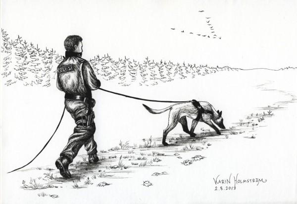 Etsivä poliisikoira spårande polishund