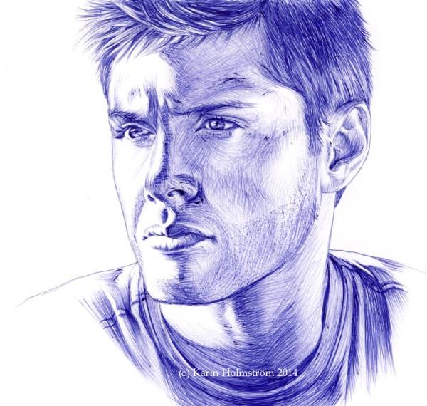 Jensen Ackles piirustus teckning kulspetspenna kuulakärkikynä