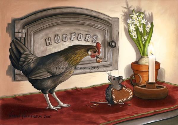 Högfors, ugnslucka, uunin luukku, höna, kana, mus, hiiri, pepparkaka, pipari, hyacint, hyasintti